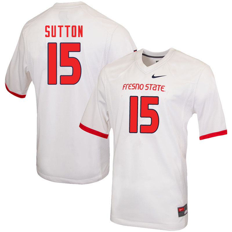 Men #15 Cam Sutton Fresno State Bulldogs College Football Jerseys Sale-White