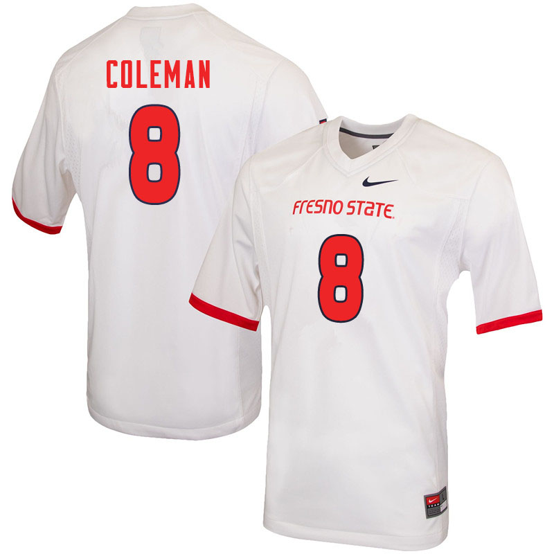 Men #8 Chris Coleman Fresno State Bulldogs College Football Jerseys Sale-White