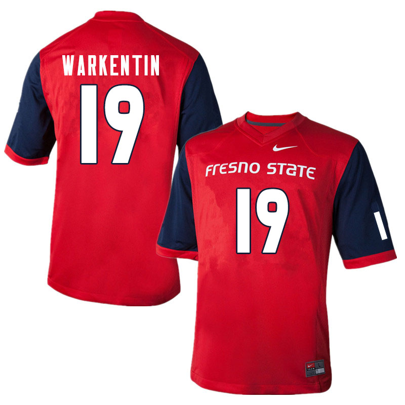 Men #19 Colby Warkentin Fresno State Bulldogs College Football Jerseys Sale-Red