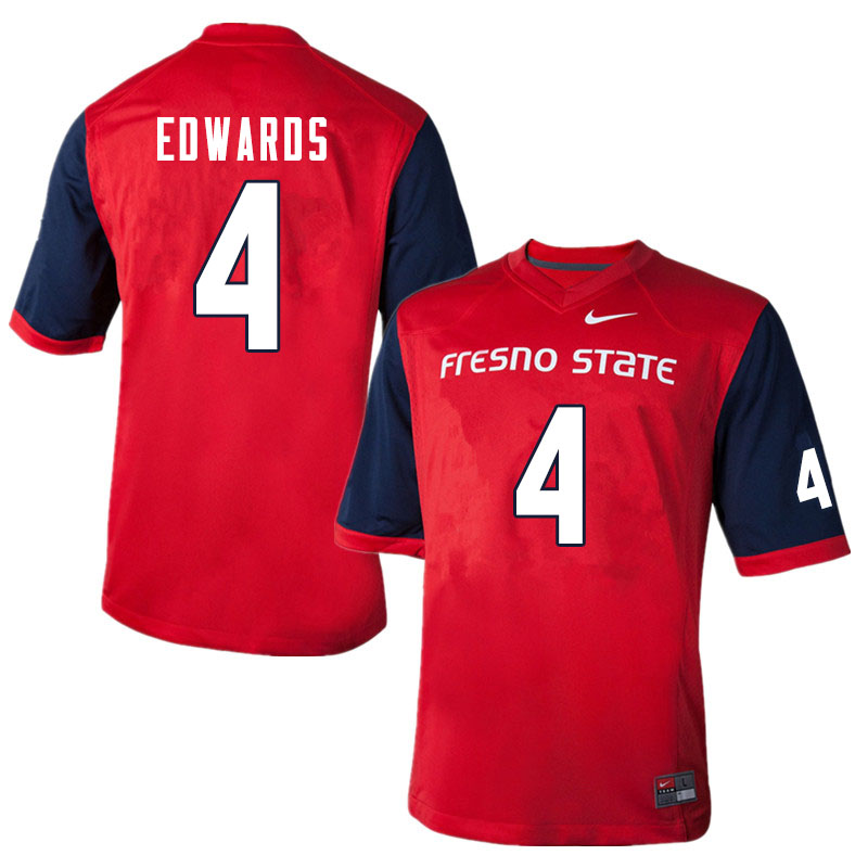 Men #4 Emoryie Edwards Fresno State Bulldogs College Football Jerseys Sale-Red