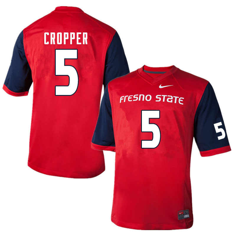 Men #5 Jalen Cropper Fresno State Bulldogs College Football Jerseys Sale-Red