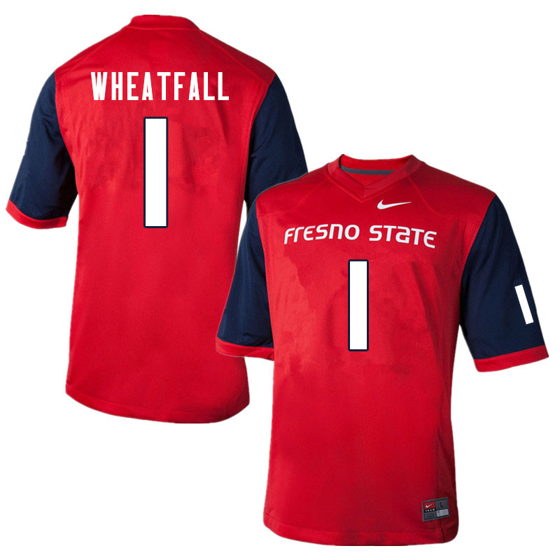 Men #1 Keric Wheatfall Fresno State Bulldogs College Football Jerseys Sale-Red