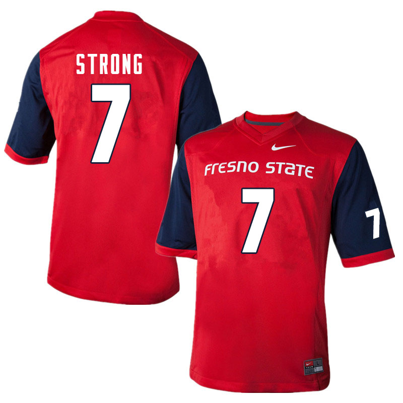 Men #7 Reggie Strong Fresno State Bulldogs College Football Jerseys Sale-Red