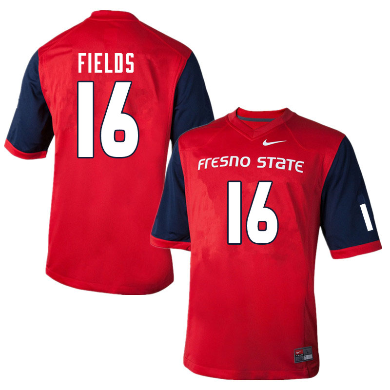 Men #16 Rian Fields Fresno State Bulldogs College Football Jerseys Sale-Red