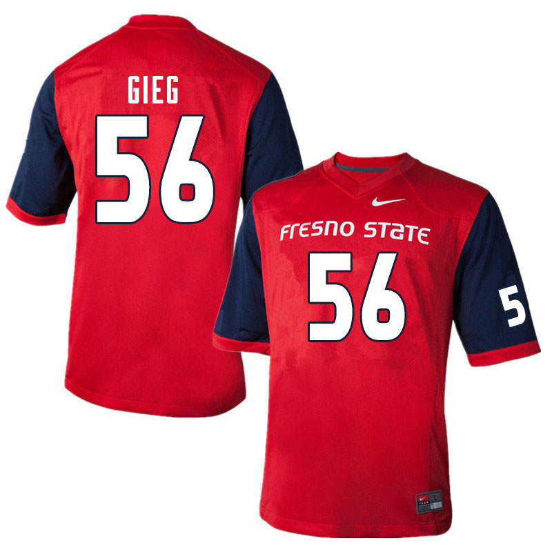 Men #56 Zack Gieg Fresno State Bulldogs College Football Jerseys Sale-Red