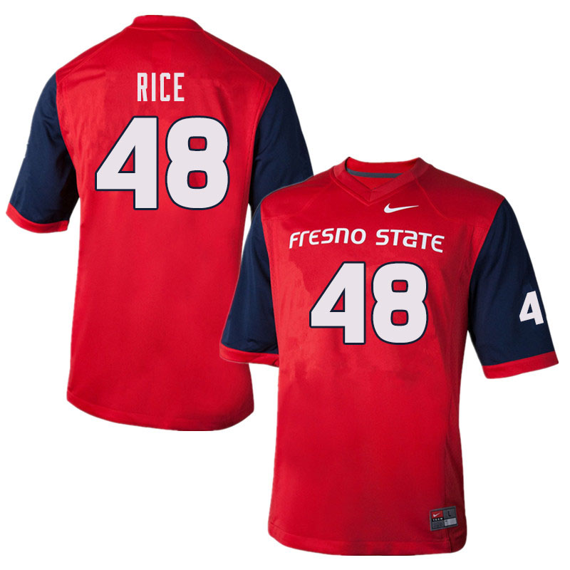 Men #48 Jack Rice Fresno State Bulldogs College Football Jerseys Sale-Red