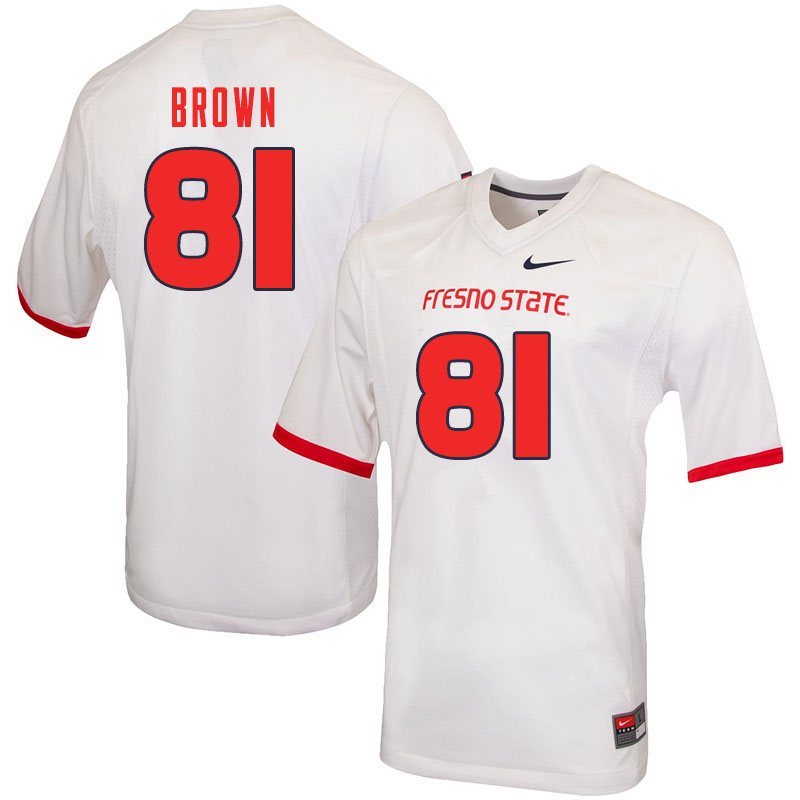 Men #81 Jordan Brown Fresno State Bulldogs College Football Jerseys Sale-White