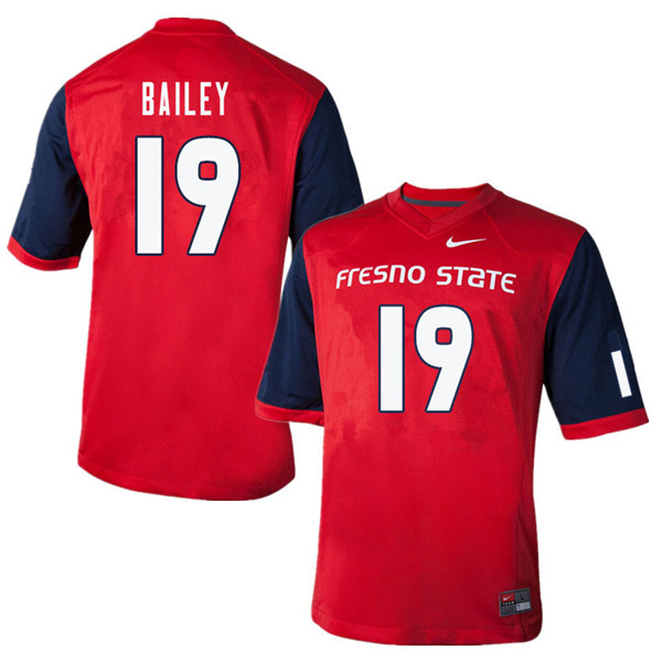 Men #19 Brent Bailey Fresno State Bulldogs College Football Jerseys Sale-Red