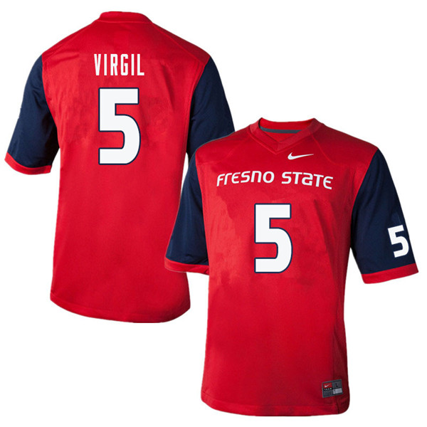 Men #5 Chason Virgil Fresno State Bulldogs College Football Jerseys Sale-Red