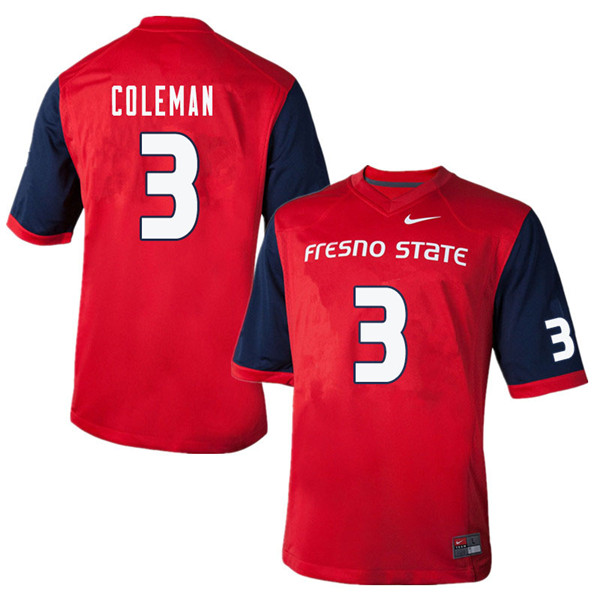 Men #3 Chris Coleman Fresno State Bulldogs College Football Jerseys Sale-Red