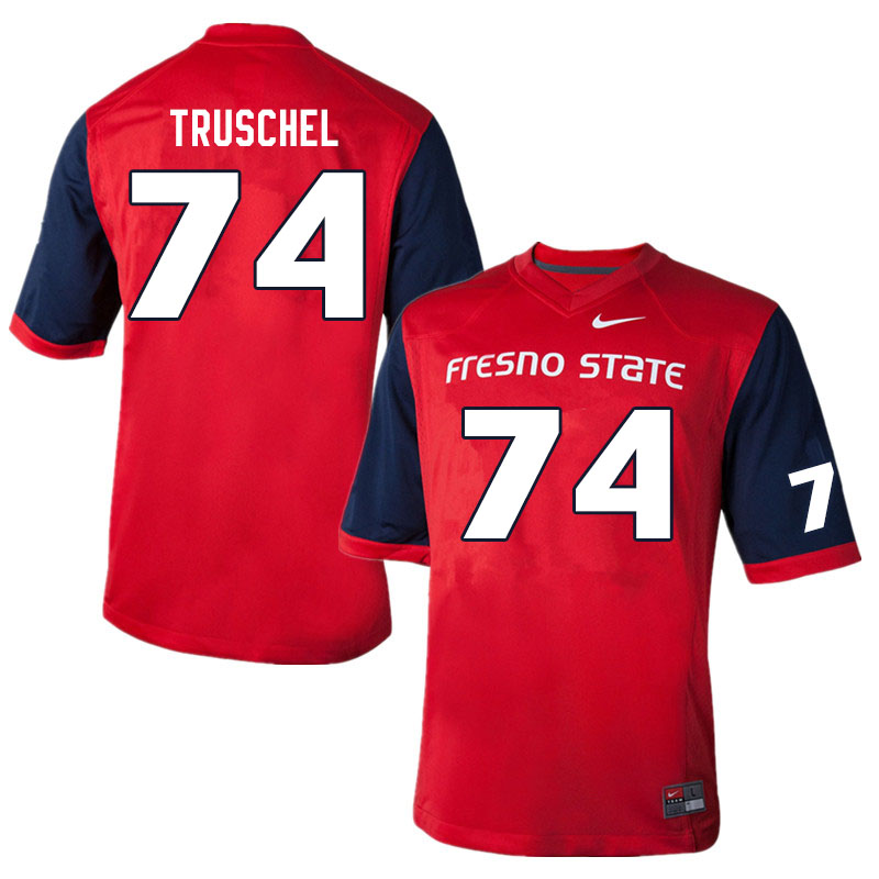 Men #74 Clive Truschel Fresno State Bulldogs College Football Jerseys Sale-Red