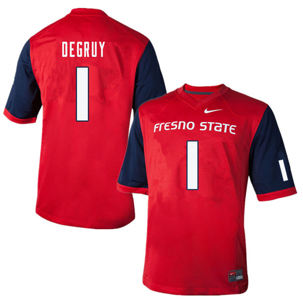 Men #1 Damien DeGruy Fresno State Bulldogs College Football Jerseys Sale-Red