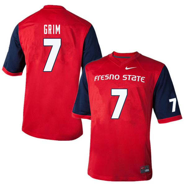 Men #7 Derrion Grim Fresno State Bulldogs College Football Jerseys Sale-Red