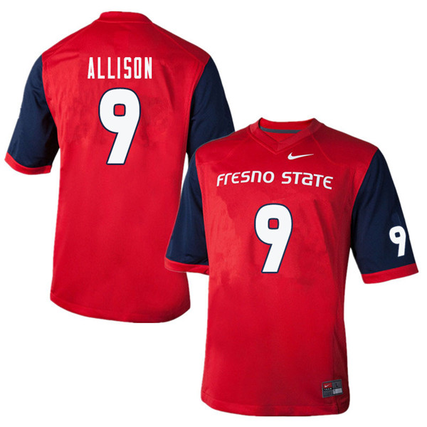 Men #9 Jeffrey Allison Fresno State Bulldogs College Football Jerseys Sale-Red