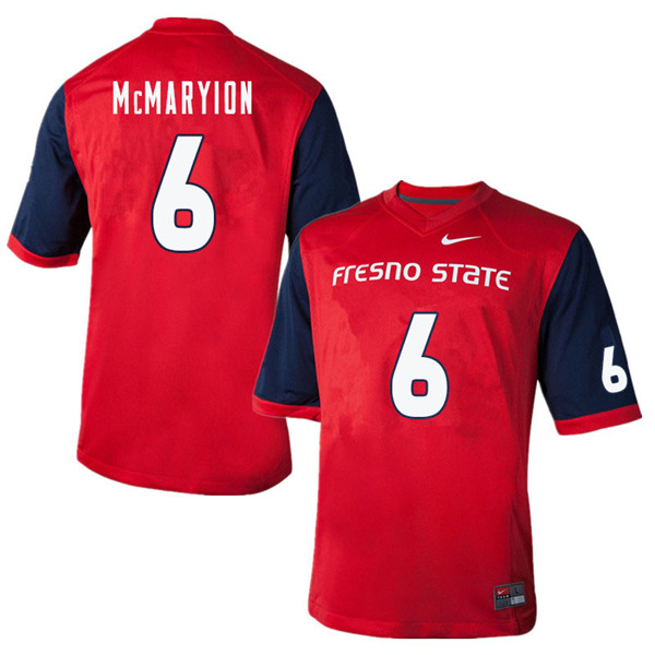 Men #6 Marcus McMaryion Fresno State Bulldogs College Football Jerseys Sale-Red