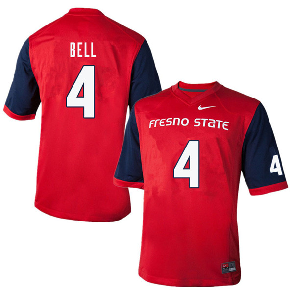Men #4 Mike Bell Fresno State Bulldogs College Football Jerseys Sale-Red