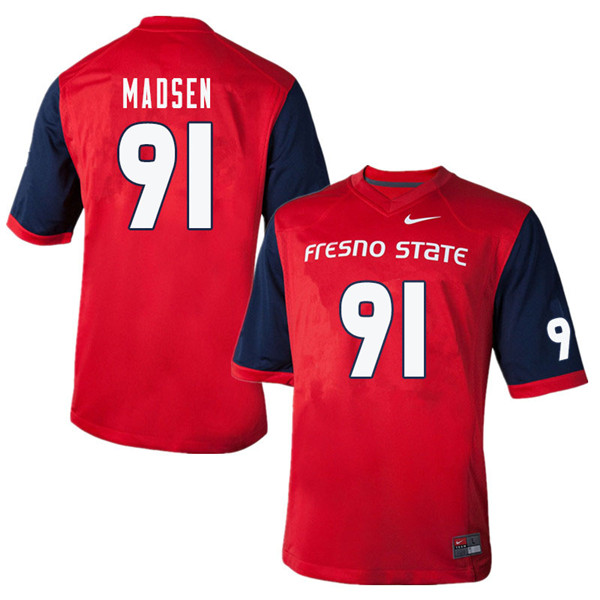Men #91 Nathan Madsen Fresno State Bulldogs College Football Jerseys Sale-Red