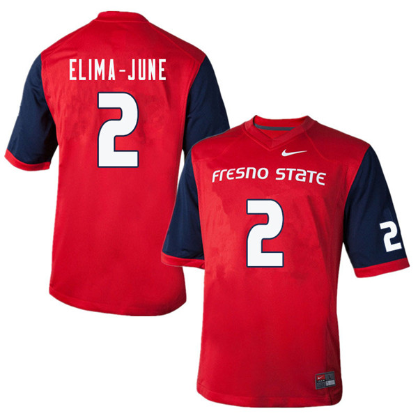 Men #2 Patrick Elima-June Fresno State Bulldogs College Football Jerseys Sale-Red