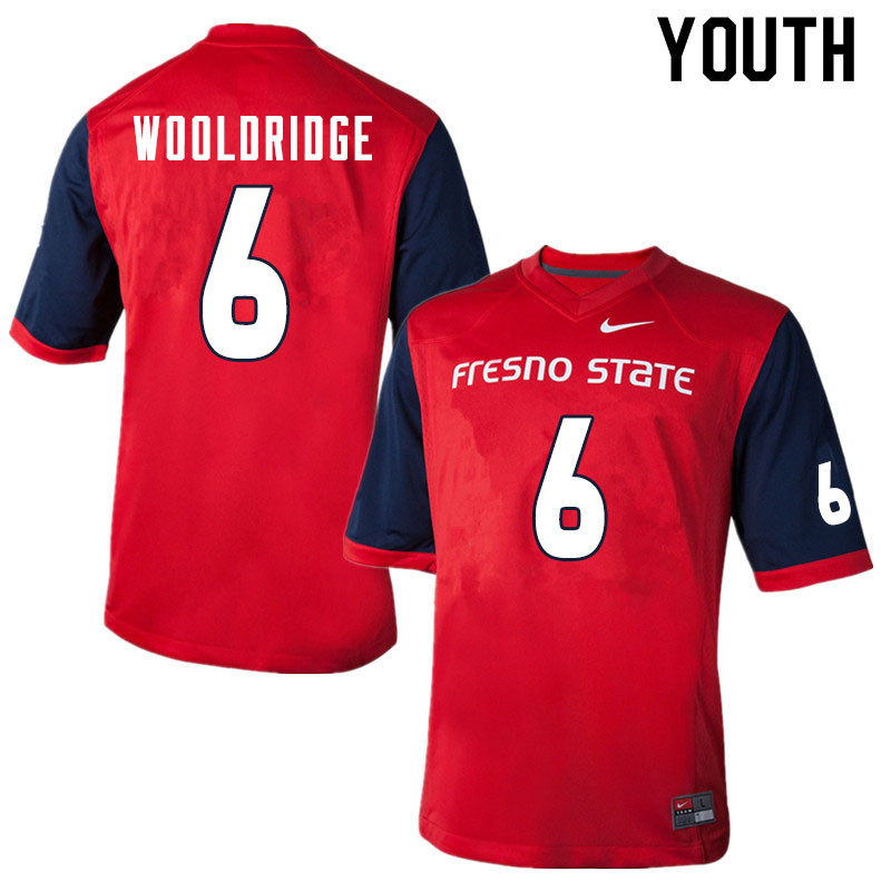 Youth #6 Ben Wooldridge Fresno State Bulldogs College Football Jerseys Sale-Red