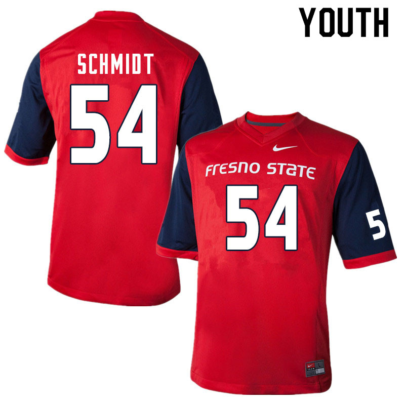 Youth #54 Bula Schmidt Fresno State Bulldogs College Football Jerseys Sale-Red