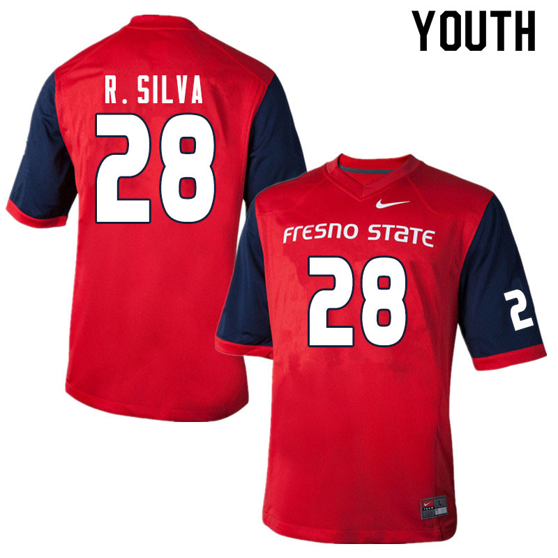 Youth #28 Cesar R. Silva Fresno State Bulldogs College Football Jerseys Sale-Red
