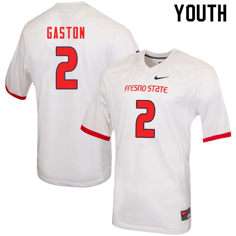 Youth #2 Chris Gaston Fresno State Bulldogs College Football Jerseys Sale-White