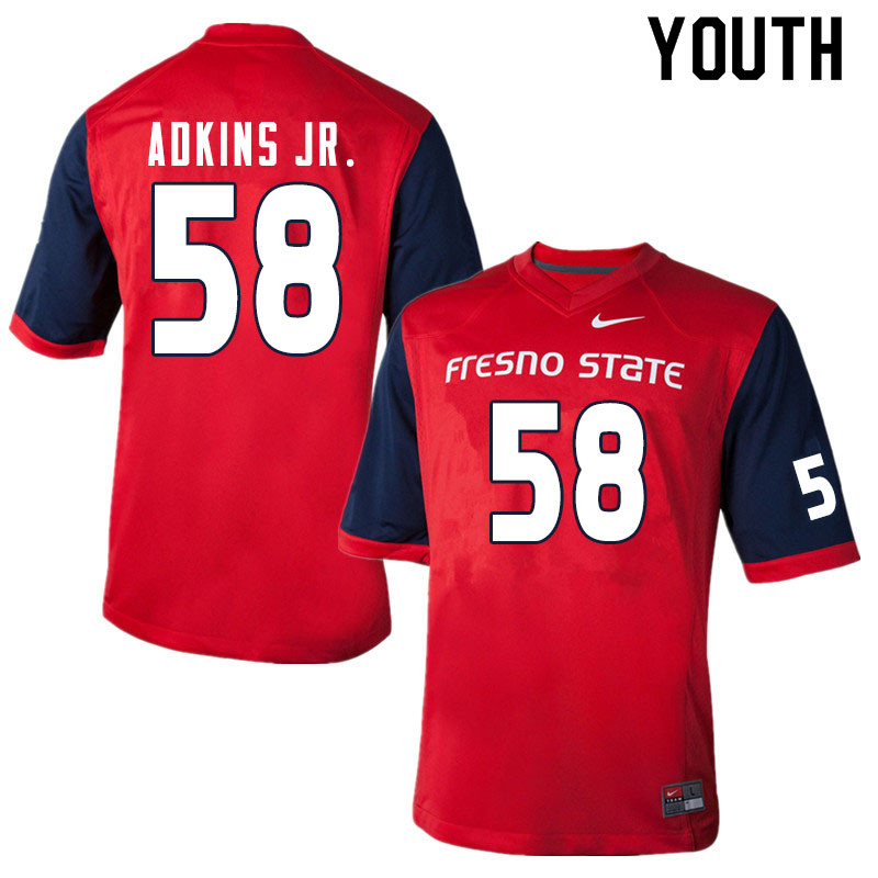 Youth #58 Dante Adkins Jr. Fresno State Bulldogs College Football Jerseys Sale-Red