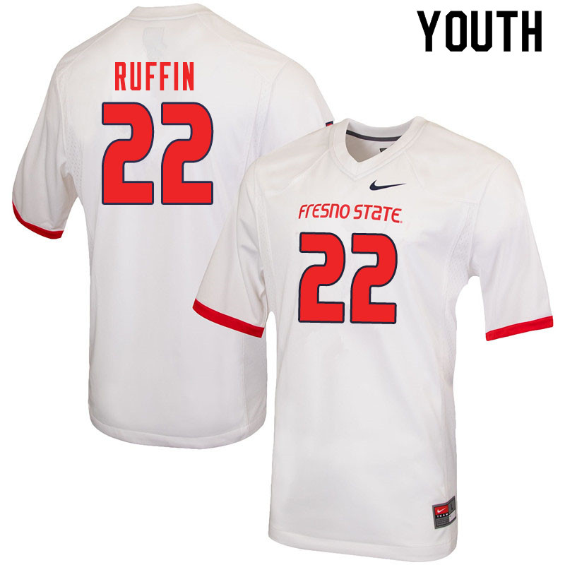 Youth #22 Deshawn Ruffin Fresno State Bulldogs College Football Jerseys Sale-White