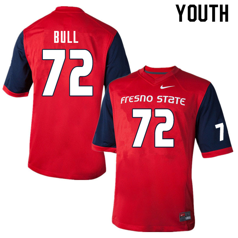 Youth #72 Dontae Bull Fresno State Bulldogs College Football Jerseys Sale-Red