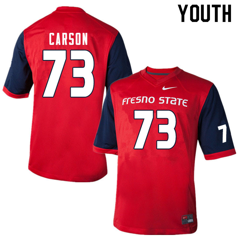 Youth #73 Elijah Carson Fresno State Bulldogs College Football Jerseys Sale-Red
