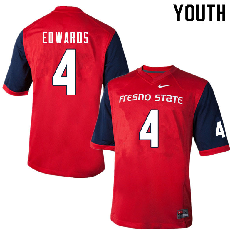 Youth #4 Emoryie Edwards Fresno State Bulldogs College Football Jerseys Sale-Red