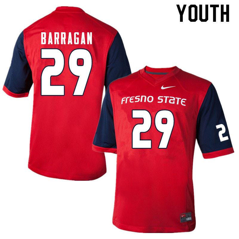 Youth #29 Estevan Barragan Fresno State Bulldogs College Football Jerseys Sale-Red
