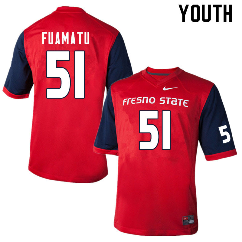 Youth #51 Jace Fuamatu Fresno State Bulldogs College Football Jerseys Sale-Red