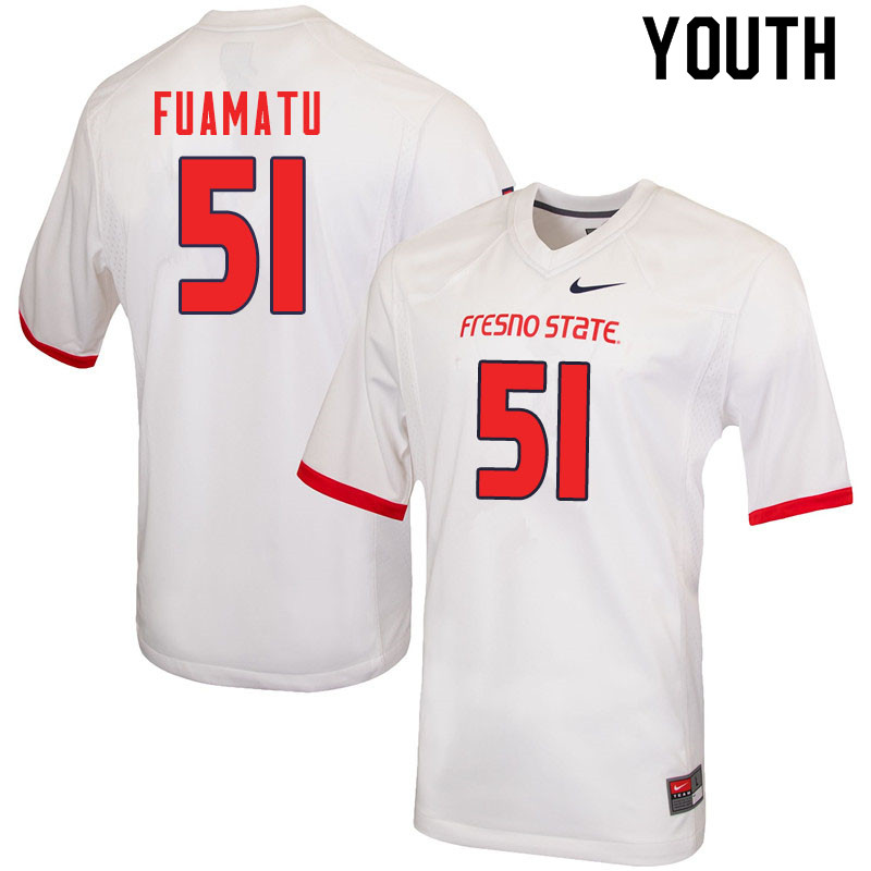 Youth #51 Jace Fuamatu Fresno State Bulldogs College Football Jerseys Sale-White