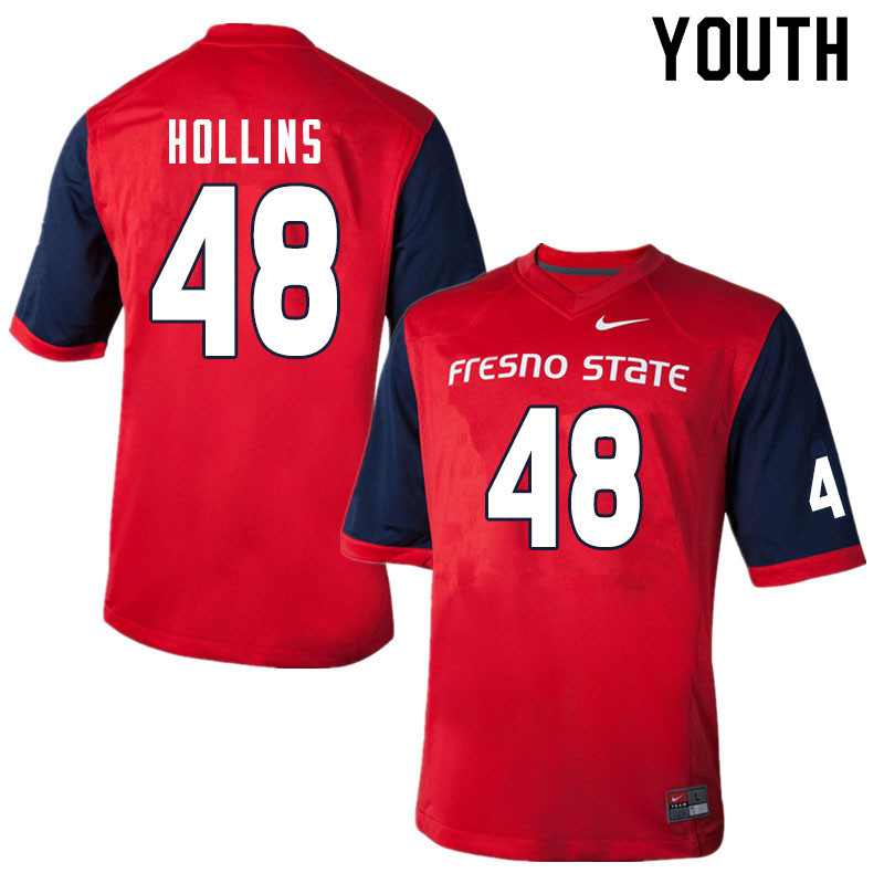 Youth #48 Jacob Hollins Fresno State Bulldogs College Football Jerseys Sale-Red