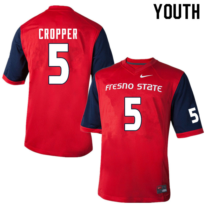 Youth #5 Jalen Cropper Fresno State Bulldogs College Football Jerseys Sale-Red