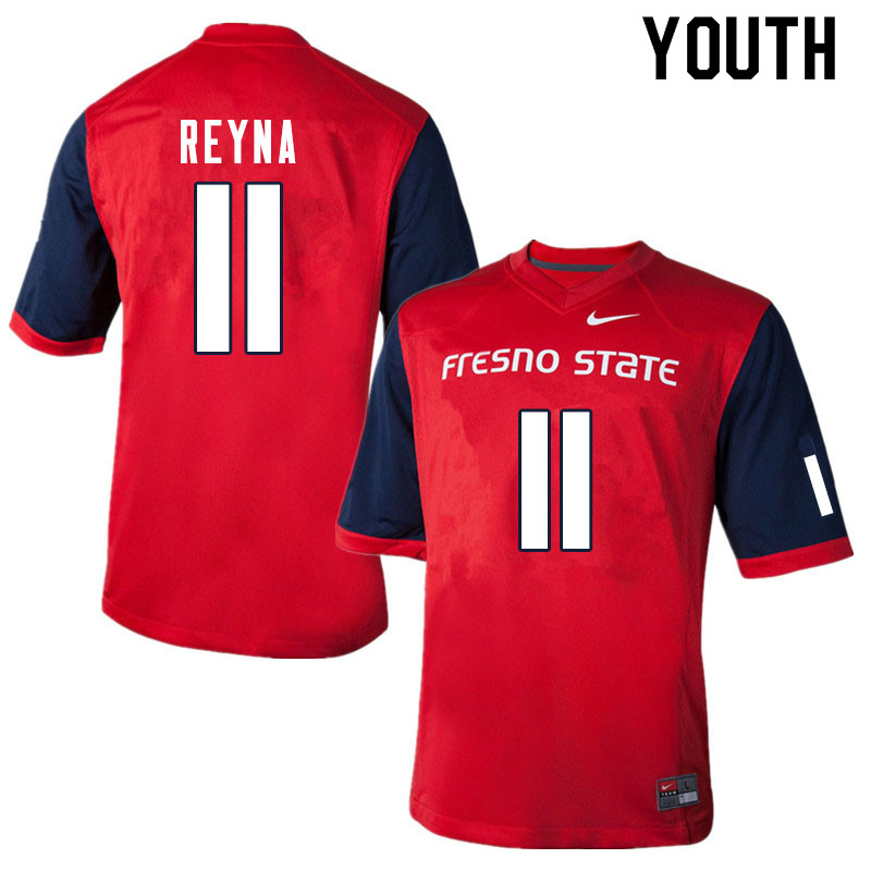 Youth #11 Jorge Reyna Fresno State Bulldogs College Football Jerseys Sale-Red