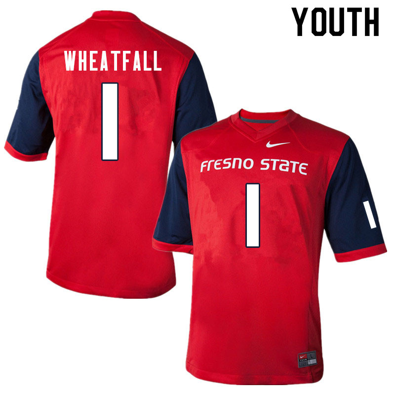 Youth #1 Keric Wheatfall Fresno State Bulldogs College Football Jerseys Sale-Red