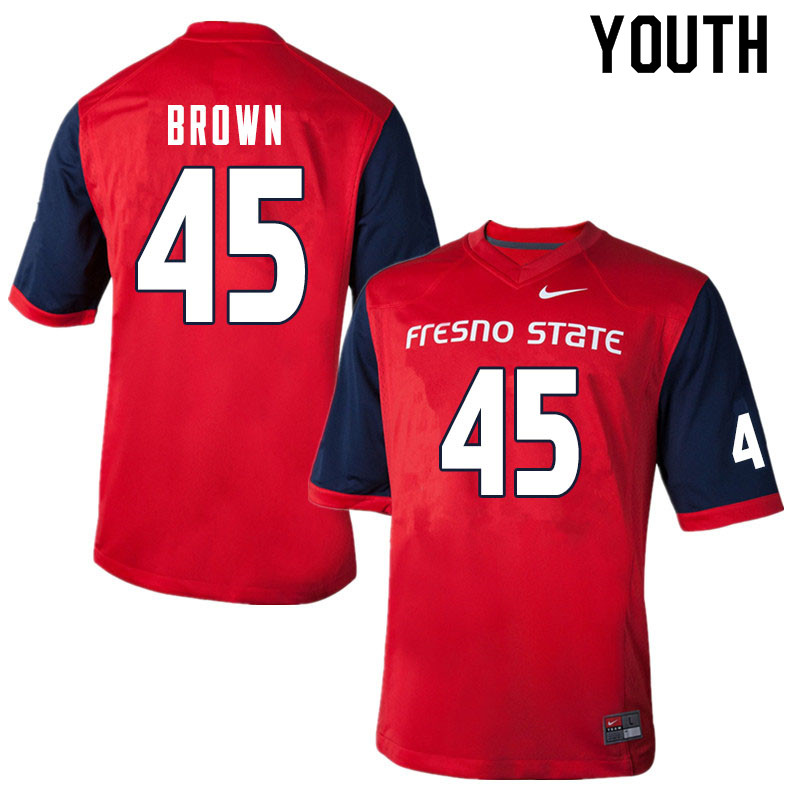 Youth #45 Kurtis Brown Fresno State Bulldogs College Football Jerseys Sale-Red