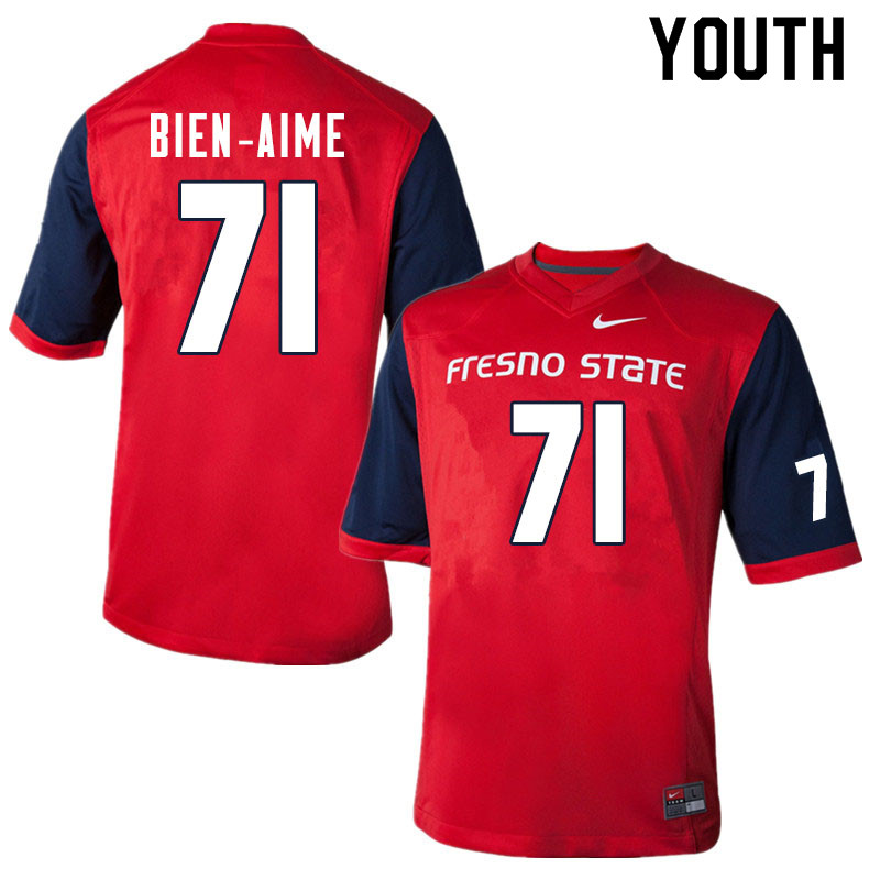 Youth #71 Marc-David Bien-Aime Fresno State Bulldogs College Football Jerseys Sale-Red