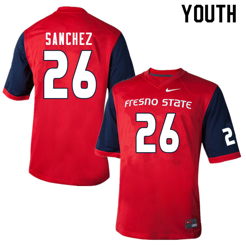 Youth #26 Mathew Sanchez Fresno State Bulldogs College Football Jerseys Sale-Red