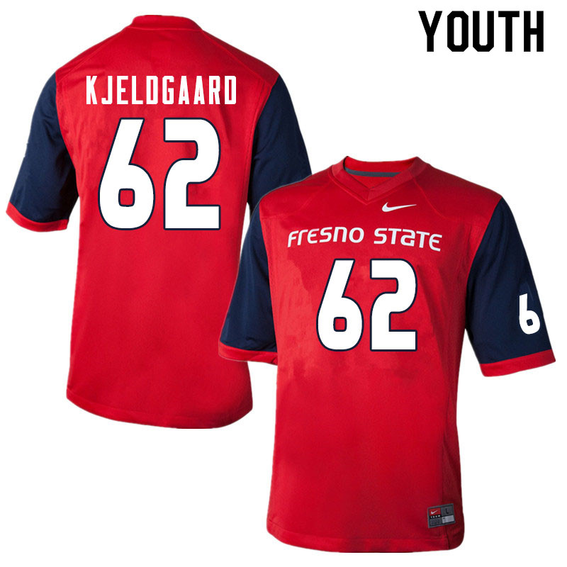 Youth #62 Matt Kjeldgaard Fresno State Bulldogs College Football Jerseys Sale-Red