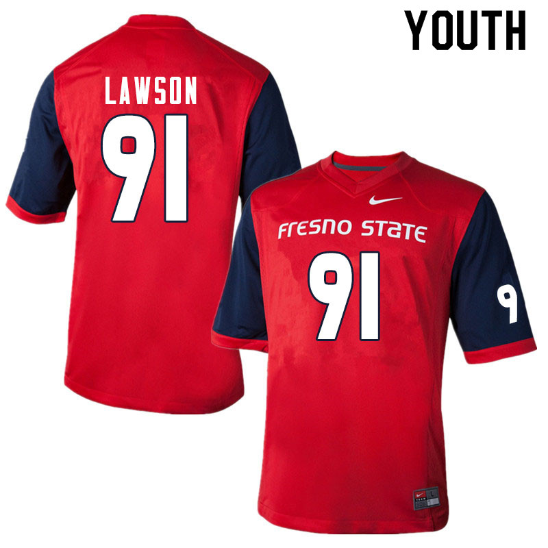 Youth #91 Matt Lawson Fresno State Bulldogs College Football Jerseys Sale-Red