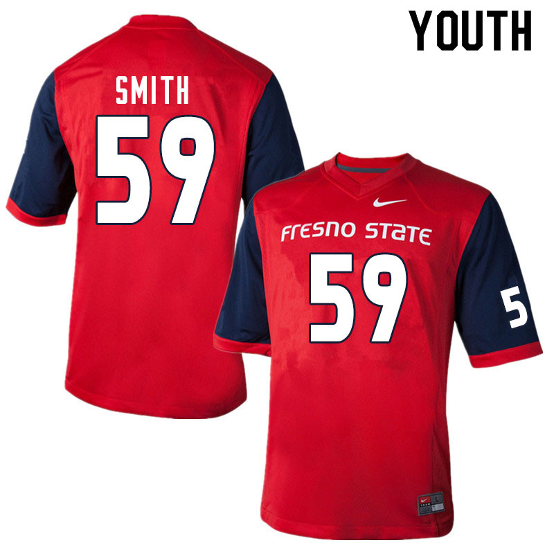 Youth #59 Matt Smith Fresno State Bulldogs College Football Jerseys Sale-Red