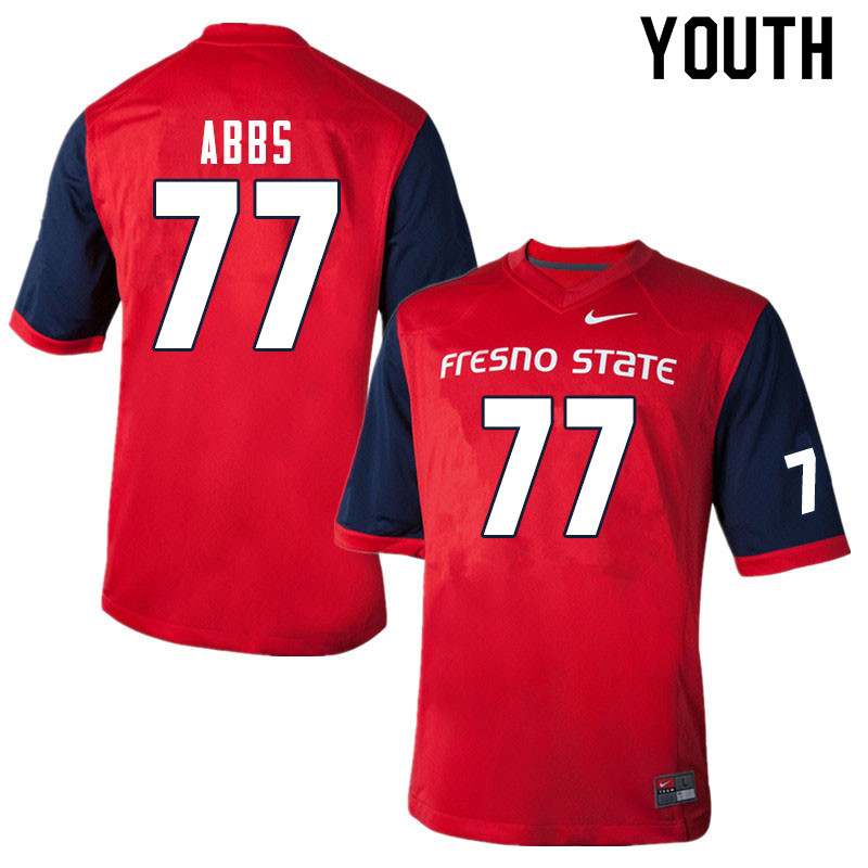 Youth #77 Nick Abbs Fresno State Bulldogs College Football Jerseys Sale-Red