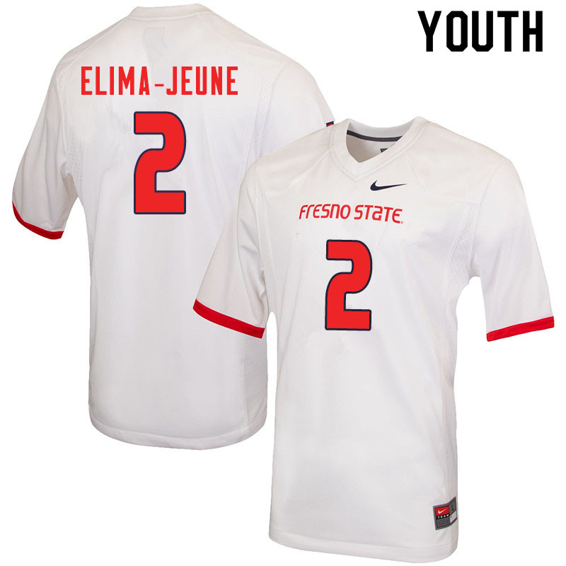 Youth #2 Patrick Elima-Jeune Fresno State Bulldogs College Football Jerseys Sale-White