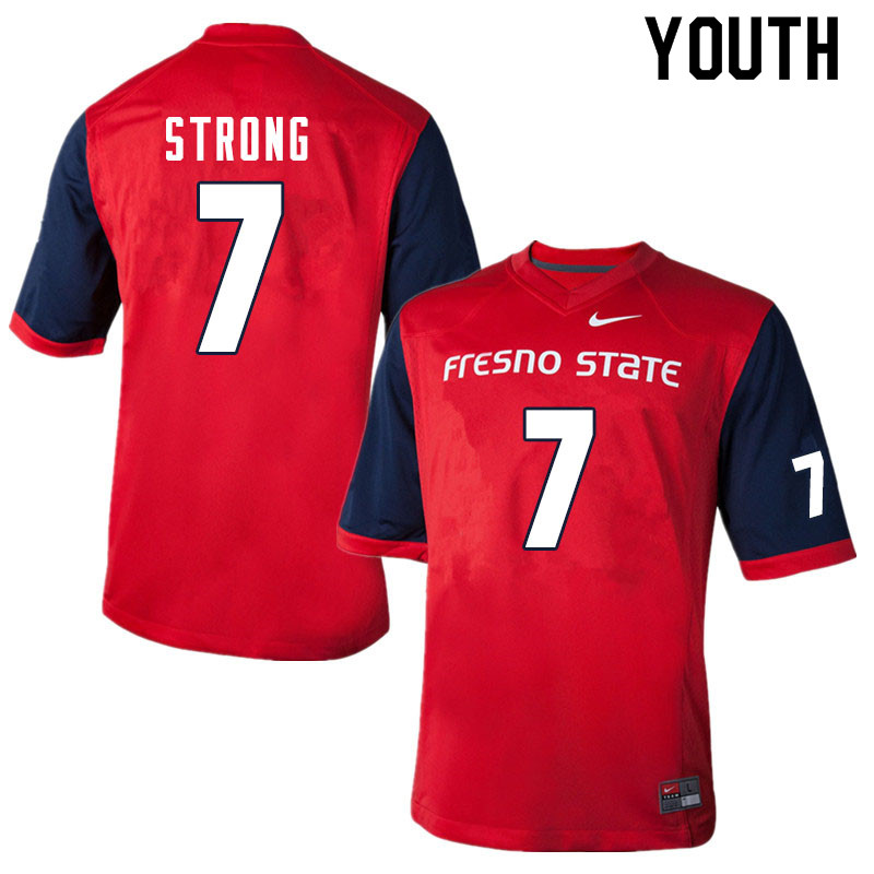 Youth #7 Reggie Strong Fresno State Bulldogs College Football Jerseys Sale-Red
