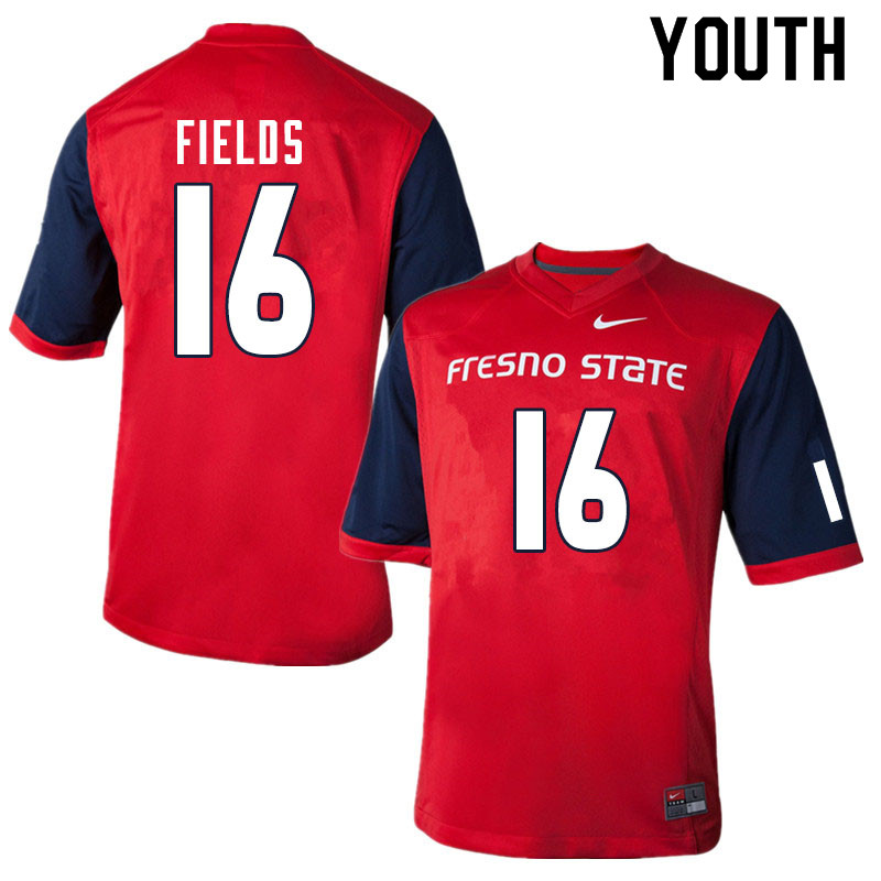 Youth #16 Rian Fields Fresno State Bulldogs College Football Jerseys Sale-Red