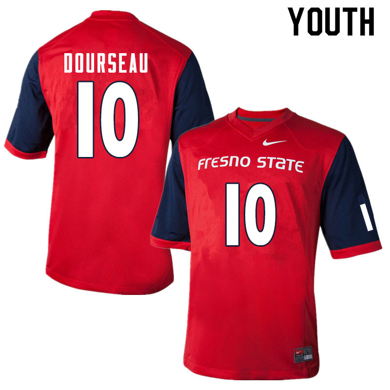 Youth #10 Shawn Dourseau Fresno State Bulldogs College Football Jerseys Sale-Red