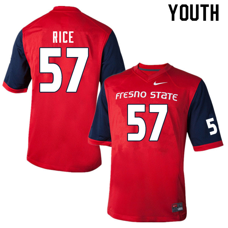 Youth #57 Tanner Rice Fresno State Bulldogs College Football Jerseys Sale-Red